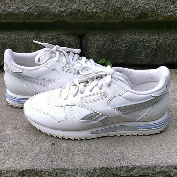 161dd879312 Reebok Classic Women s 6 White Silver Sneakers. M 5b1d01753e0caad680ed5d1e